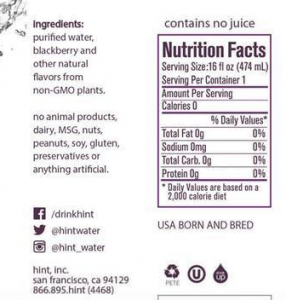 Hint Nutrition Facts